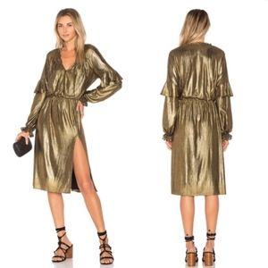Tularosa Marita Gold Midi Dress Small